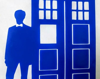 11th Doctor Matt Smith and Tardis Decal for Car / Tablet / Lap Top / Wall  ~ Multiple colors and sizes