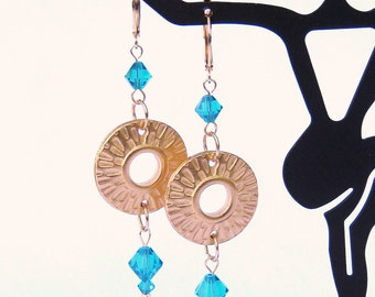 Golden Sun and Teal Green-Blue Swarovski Crystal Earrings