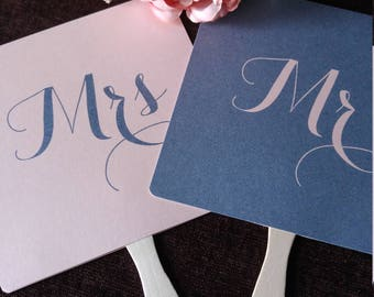 Mr and or Mrs Wedding Day Game Paddle Fan Navy Blue/ Dusky Pink Fun Wedding Photo  Props