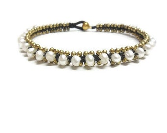 Brass Woven Pearl  Anklet