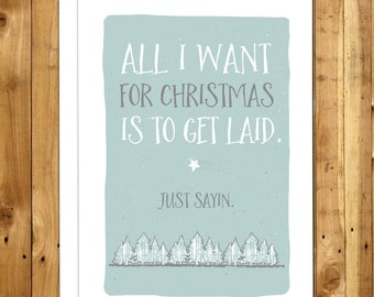 Funny Christmas Card. Funny Holiday Card. Naughty Christmas Card For Her. Girlfriend Christmas Card. Christmas Card For Girlfriend. Get Laid