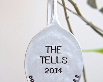 Personalized Our First Christmas Ornament. Hand Stamped Ornament. Personalized Repurposed Spoon for your Christmas Tree.