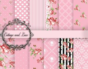 Digital Shabby Chic: Digital Background Paper, Floral Digital Paper, Damask, Polka Dot, Printable Paper, Instant Download  No 1243