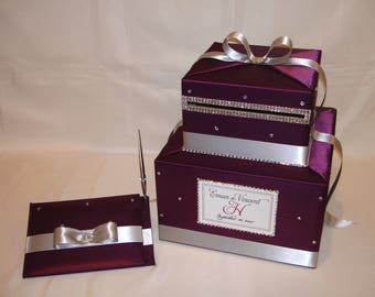 Plum and Silver Wedding Card Box with matching Guest Book and Pen-Rhinestone accents