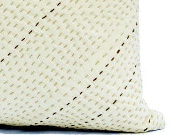 Cream Pillow,Neutral Throw Pillows Hygge Decor,Sashiko Pillow Cover,Textured Cream White Throw Pillow Covers 20x20