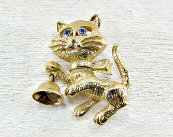 Vintage 1970s Gold Cat Brooch Pin- Designer AVON- Christmas Holiday Bell- Blue Rhinestone Eyes- Figural Animal Jewelry- Cat Lover Gift