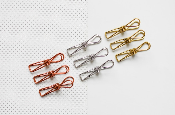 9 bag Wire Clips copper clips gold Clips Metal Clips