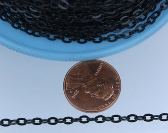 32ft of Black Flat cable chain 3.7x2.7mm - unsoldered Links