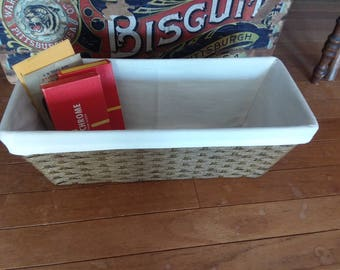 Vintage Woven Rectangular Basket w/ Liner