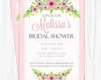 Printable Bridal Shower Invitation, Pink Floral Wedding Shower Invite, Printable Bridal Shower Invite, CUSTOM Design, 4x6, 5x7, YOU print