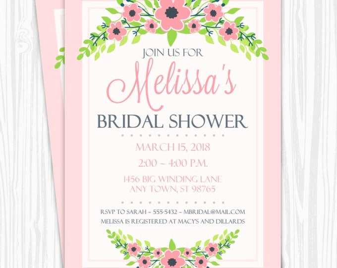 Printable Bridal Shower Invitation, Pink Floral Wedding Shower Invite, Printable Bridal Shower Invite, CUSTOM Design, 4x6, 5x7, YOU print