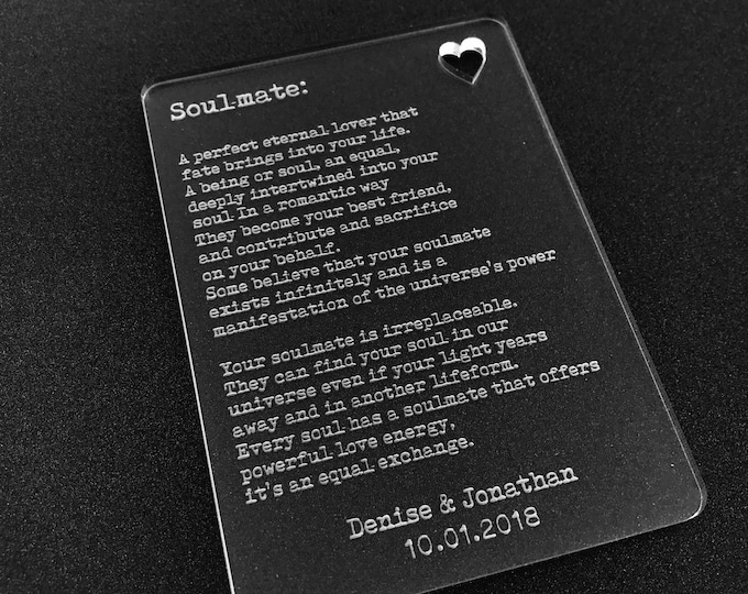 Personalised Soulmate Wallet Card Insert I Love You Valentines Gift For Mr & Mrs, His Hers, Couples, Partner, Boyfriend, Girlfriend, Lover.