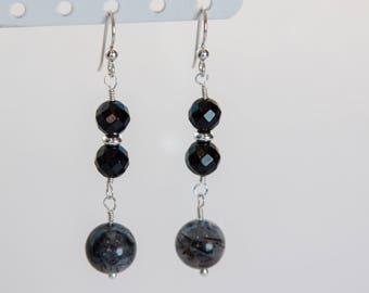 Boho Tourmalted Quartz and Black Onyx earrings, Silver, rutilated