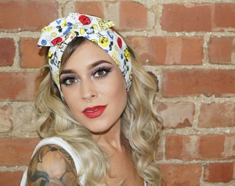 Mickey Mouse Disney Vintage Festival wired Rockabilly Pin up Headband Headwrap