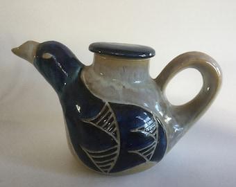 Eagle Teapot, Stoneware Teapot, Handmade Teapot, Vintage Teapot, North Eagle Pottery , Hand Built Teapot, Clay Teapot, Bird Teapot ,