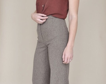 Lara pants • vintage 1970s wool trousers • 70s brown flaired tousers