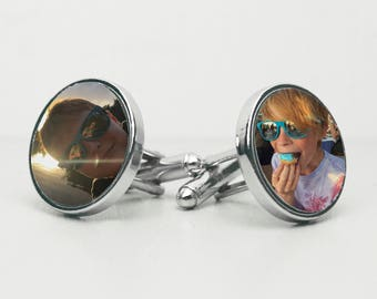 Photo Cufflinks - Personalised Photo Cufflinks - Gift for Daddy - Personalised Father's Day Gift