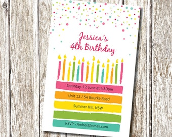 Birthday Cake Party Invitation -  Printable and Personalised