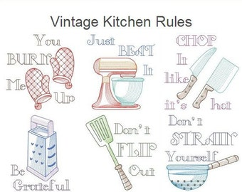 kitchen embroidery designs. Vintage Kitchen Rules Machine Embroidery Designs Pack Instant Download 4x4  5x5 hoop 10 designs APE2277