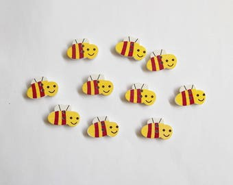 Bee buttons, Wooden buttons, Bumble bee buttons, Painted wood buttons, Two hole buttons, Set of 10 yellow bee buttons, Bee shaped buttons