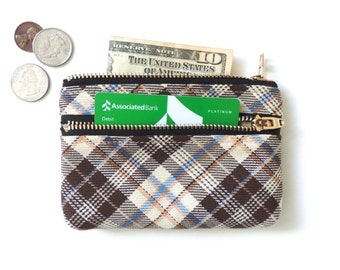 Wallet Coin Purse Double Zipper Pouch Plaid