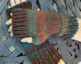 Brown and Green Knit Fingerless Gloves - Woodland Knit Handmade Fingerless Gloves Fingerless Mittens - Arm Warmers - Wrist Warmers
