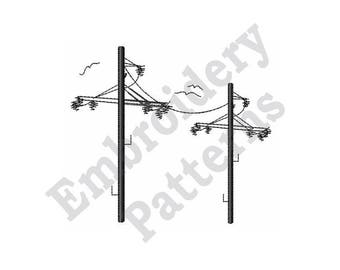 Above Ground Power Lines - Machine Embroidery Design
