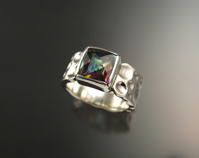 Mystic Topaz Moonscape Ring Sterling Silver Checkerboard cut square stone made to order in your Size