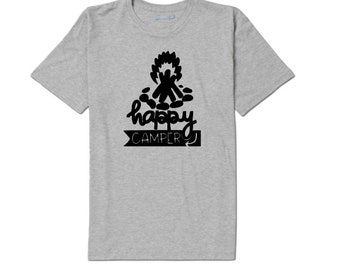 Happy Camper Camping Outdoor Bonfire Funny Unisex T Shirt Many Sizes Colors Custom Gift Jenuine Crafts