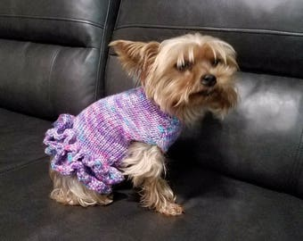 Hand Knit Sweater with Ruffle Skirt