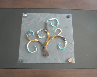 Picture in mosaic and customizable - the tree of life - glass mosaic on Slate colored glass