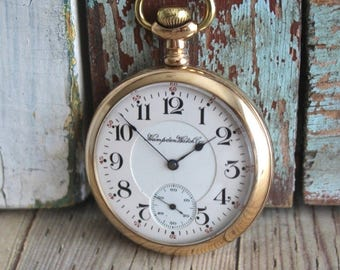 Antique Hampton One-Star 1917 Pocket Watch Gold Filled Case by avintageobsession on etsy...FREE USA shipping...20% Discount