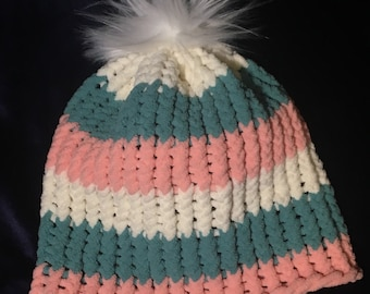 Chenille Beanie Hat Women's Adult Large Fur Salmon Pink Cream Sage Green