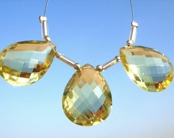 20x15mm Trio of Genuine AAA Lemon Quartz faceted pear shaped briolettes matched pair and a focal pendant