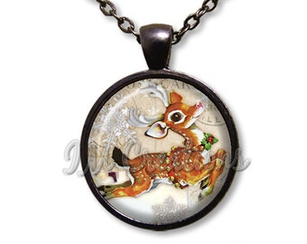 Christmas Holidays Dashing Reindeer Dome Pendant or with Chain Link Necklace HD195