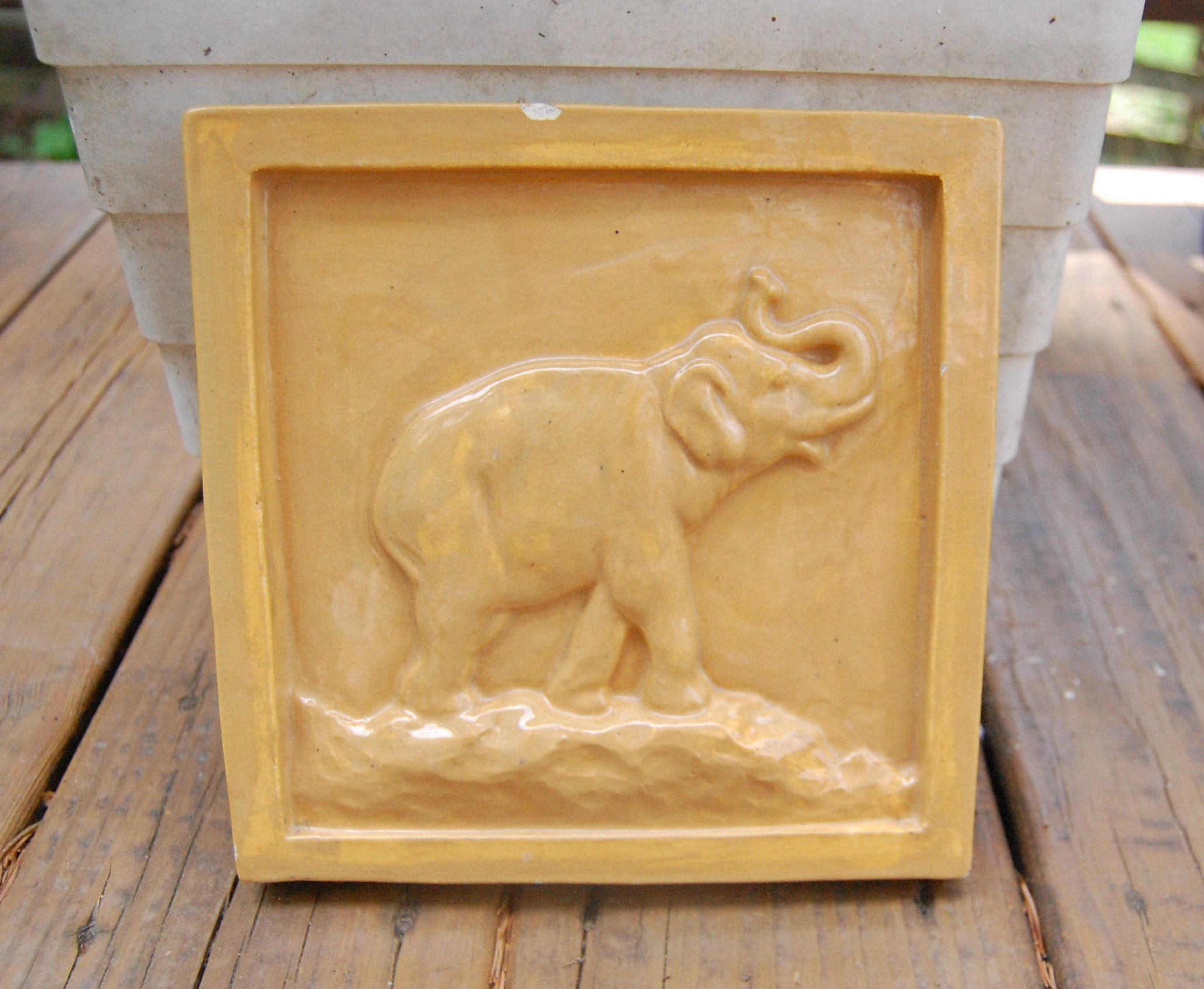 Elephant Glazed Ceramic Relief Plaque Wall Hanging Tile