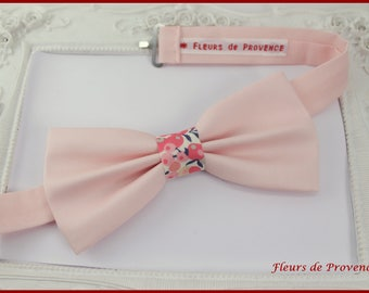 Bow tie fabric peach and Liberty Wiltshire sweet pea - man / child / baby
