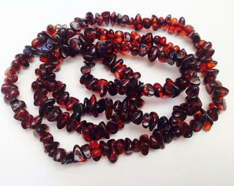 "Amber beaded strand necklace 30"" long -- please see all pictures!"