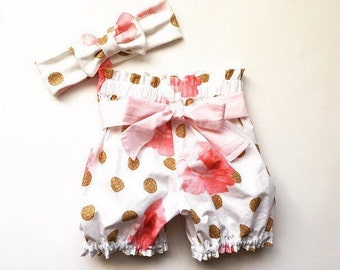Rose Gold Floral High Waist Bloomers Ruffle Bloomer Shorts Bubble Summer Shorts Newborn / Baby / Toddler