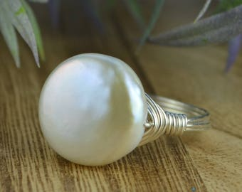Large Freshwater Pearl Ring -Silver, Yellow, or Rose Gold Filled Wire Wire Wrap Ring with White Coin Pearl- Size 4 5 6 7 8 9 10 11 12 13 14