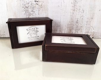Handmade Wooden Keepsake Jewelry Trinket Pencil Box with 4x6 Picture Frame Lid -  Wooden Box Picture Frame holds 4 x 6 Photograph