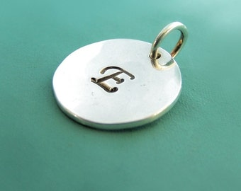 Initial Letter Charm in Sterling Silver, Personalized Custom Stamped, Gift for Mom, 1/2""