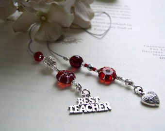 TEACHER GIFT Bookmark - Jeweled Beaded Book Thong in Ruby Red and Silver Beads and Pewter Heart and Best Teacher Appreciation Charms
