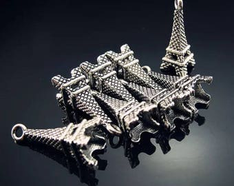 set of 5 Silver charm 22mm eiffel tower
