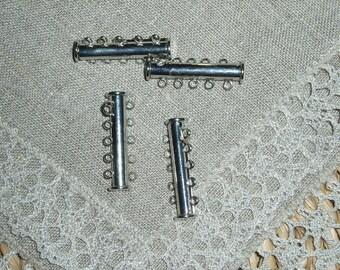 4 Pcs. Slide Lock Clasps, Alloy, Matte Silver Color, 10 holes