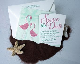 Vintage Florida Flamingos Eco-Friendly Save the Date Sample