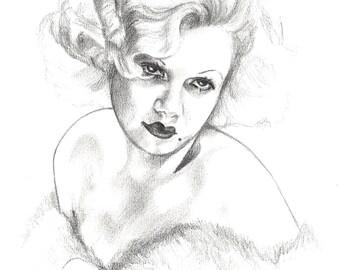 Jean Harlow A4 Original Fan Art [Silver Screen Series]