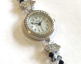 SALE- Art Deco Inspired Swarovski and Pearl Beaded Watch
