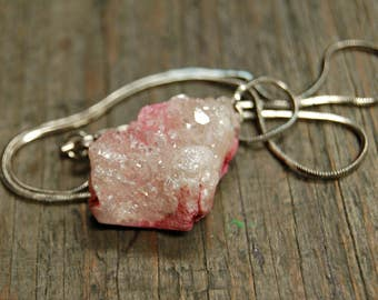Pink Druzy Necklace, Raw Crystal Necklace, Blush Pink Druzy, Healing Crystals and Stones, Raw Crystal Necklace, Natural Stone Necklace