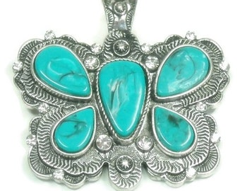Turquoise Butterfly Pendant Magnetic Clip On Butterfly Pendant Interchangeable Southwest Native Symbolic Insect Boho DIY Instant Necklace